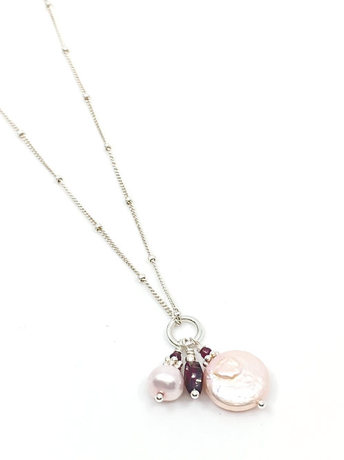 Pink Pearldrop and Garnet Necklace
