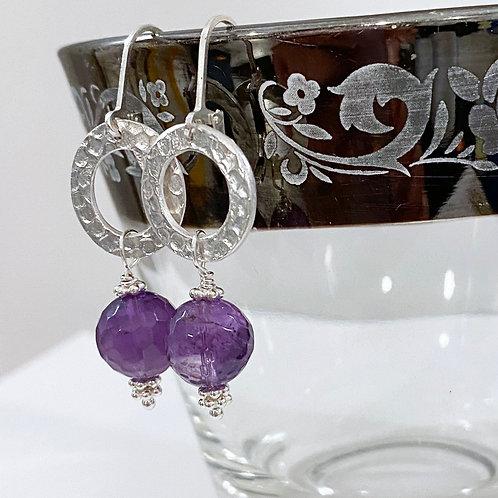 Silver Hoops and Amethyst Earrings