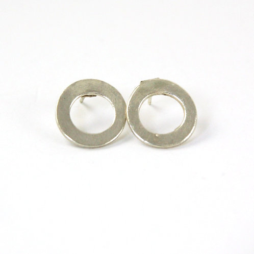 Small Silver Hoop Stud Earrings