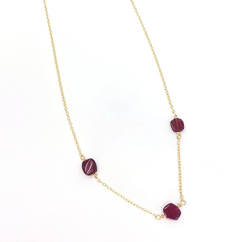Garnet and Gold Petite Necklace
