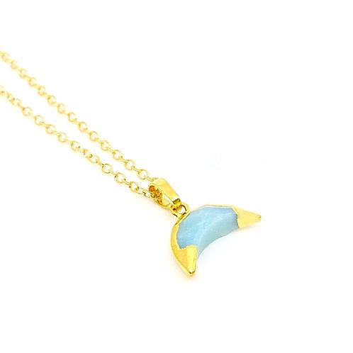 Blue Quartz Moon Necklace