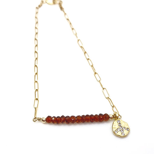 Gold Peace Sign Charm Bracelet with Spessartine Garnets