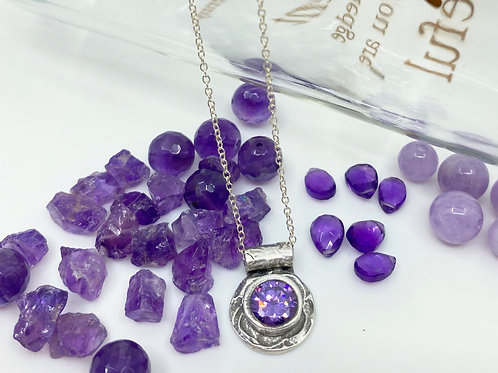 Amethyst CZ Silver Pendant Necklace, One of a Kind