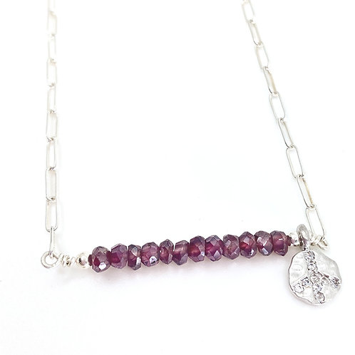 Garnets and Peace Sign Charm Necklace, Silver