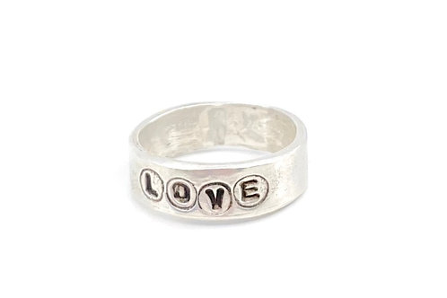 Love Sterling Silver Ring Band