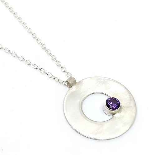 Modern Sterling Silver Necklace with Amethyst CZ