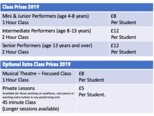 Fee & Class Time Changes September 2019 - Please take note.