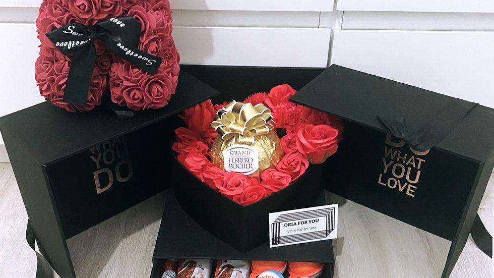 מארז הקופסא הנפתחת + דובי פרחים