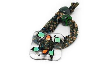 pulsera vidrio hebilla print verde terciopelo