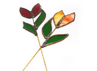 flores vidrio cobre roja naranja