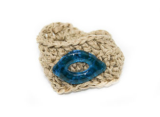 pulsera mano vidrio azul