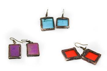 pendients vidrio playa azul rojo morado