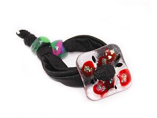 pulsera vidrio hebilla rojo negro terciopelo