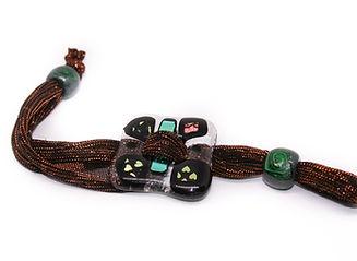 pulsera vidrio marrón verde hebilla