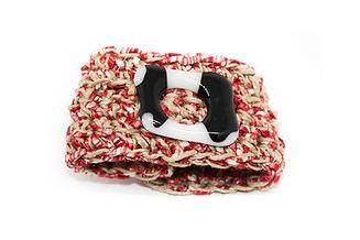 pulsera rojo marrón vidrio negro blanco