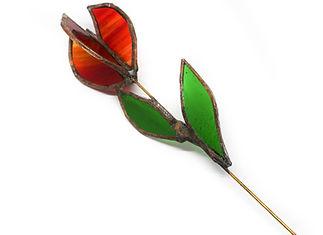 flor rosa vidrio cbre roja verde