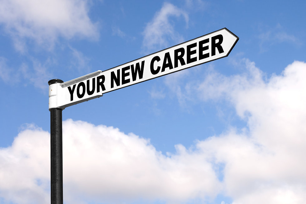 Concept image of a black and white signpost with the words Your New Career against a blue