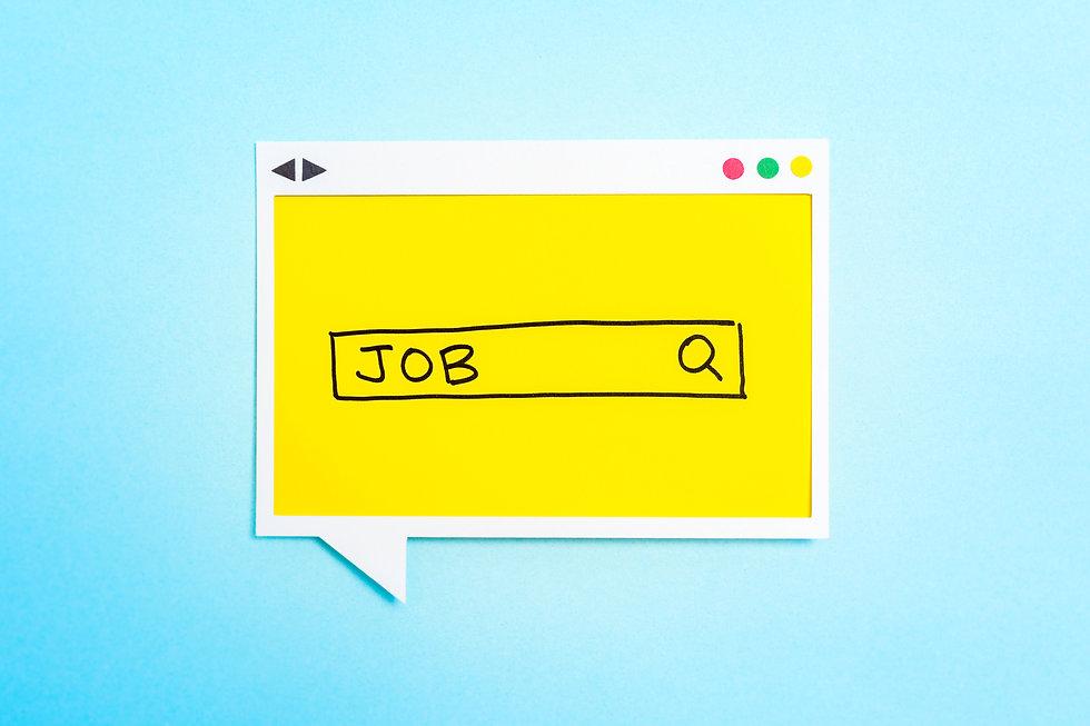 Job search form on speech bubble on blue