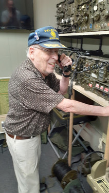 Wally Degner testing the radios during his recent M5 Anti-Tank Gun rennovation inspection.