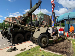 The Post 690 M5 Anti-Tank Gun being temporarily removed for maintenance and repairs.