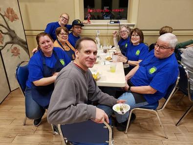 Fish Fry Volunteers take a break after serving 122 dinners. Great job!