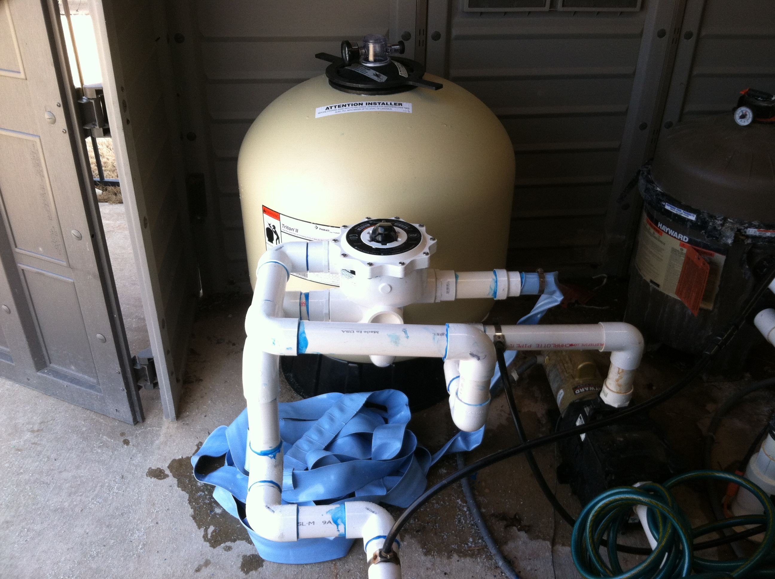 new filter plumbing and multi port valve (2)