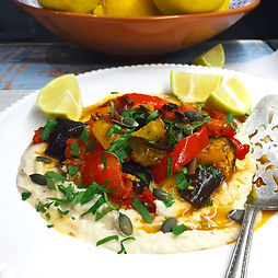 Harissa Baked Veg with White Bean Puree
