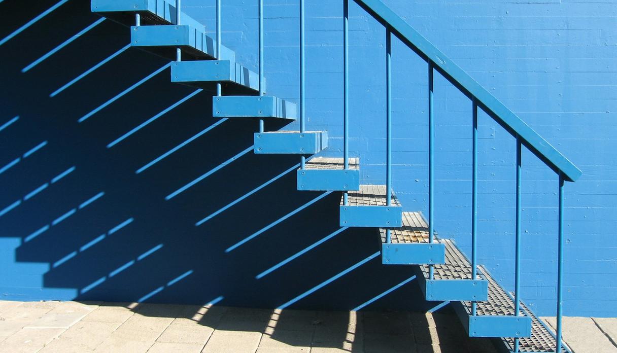 Blue iron Stairway and rail
