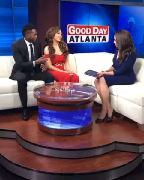 Client Action: Kierra Douglas with husband, Harry Douglas, on Good Day Atlanta
