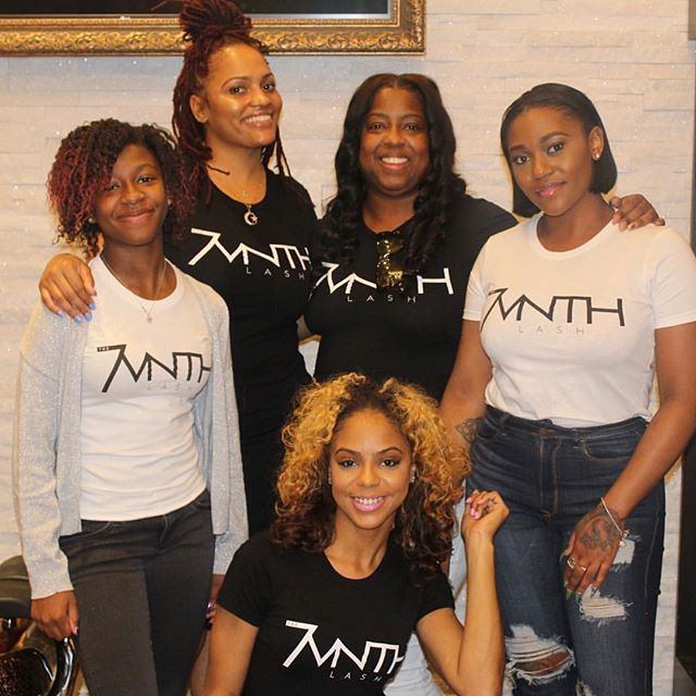 Client, Breionne Jackson, owner of the 7vnth lash, pictured with her family & team after a successfu