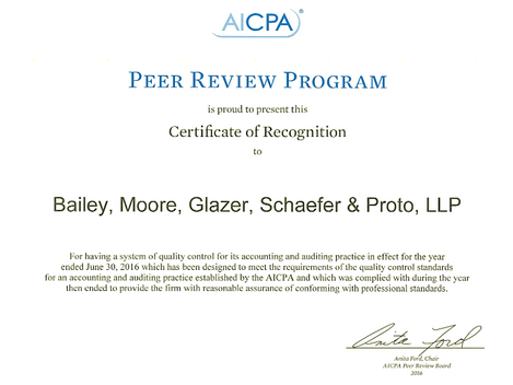 AICPA Certificate of Recognition