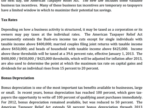2012 American Taxpayer Relief Act – Businesses