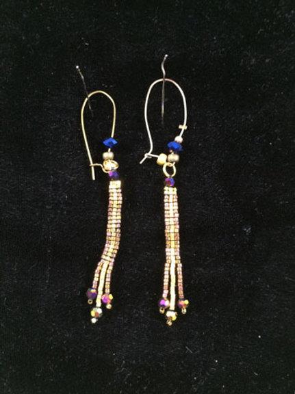Column Earrings - Skinny Fringe