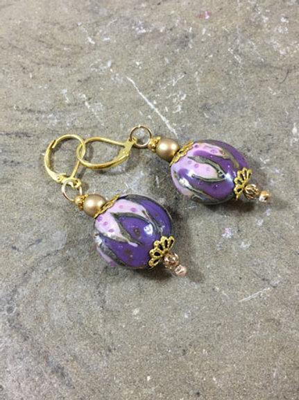 Purple lamp worked earrings