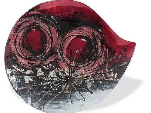 Vassoio ovale con cerchi rossi 19 cm