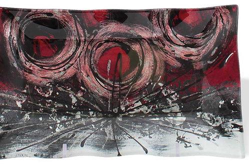 Vassoio rettangolare con cerchi rossi 22 cm
