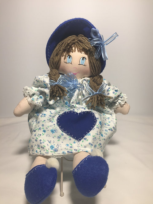 Bambola di pezza, fiori azzurri, 40 cm