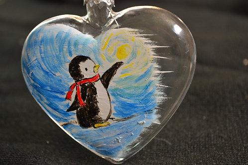 Medaglione cuore con pinguino
