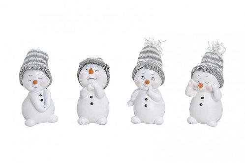 Pupazzi di neve cappello grigio 11 cm, resina