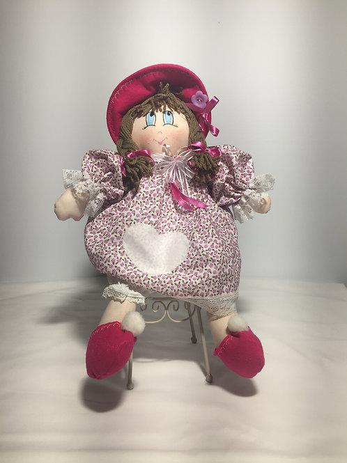 Bambola di pezza, rosa cachemire, 40 cm