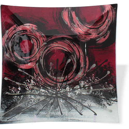 Vassoio quadrato con cerchi rossi 19 cm