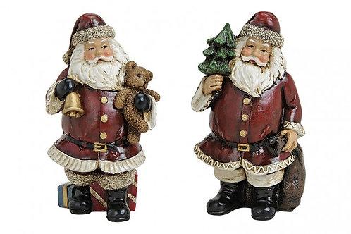 Babbo Natale con orsetto o albero 14 cm, resina