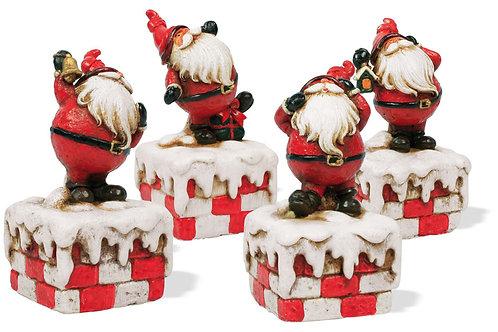 Babbo Natale su muretto 10 cm, resina