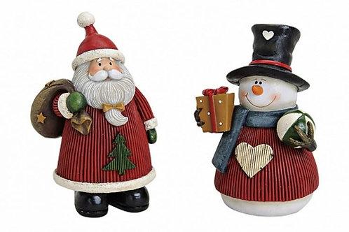 Babbo Natale o Pupazzo di Neve 10 cm, resina