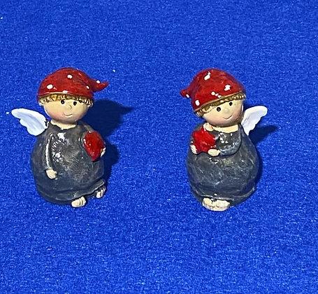 Angeli grigi con cappello rosso, 7 cm