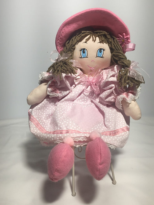 Bambola di pezza, rosa a pois, 40 cm