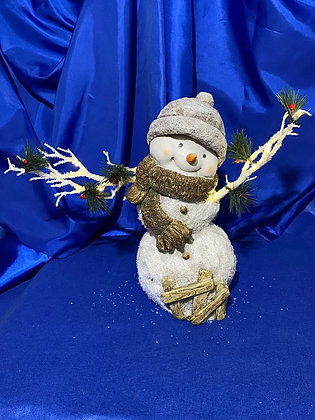 Pupazzo di neve con rami luminosi, 34 cm