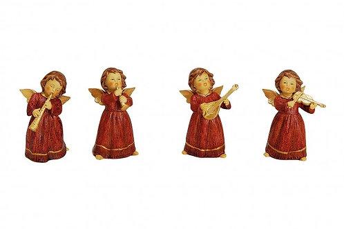 Angeli rossi 10 cm, porcellana