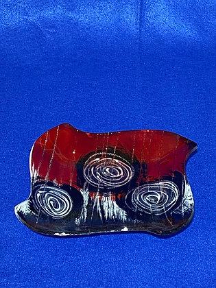 Vassoio forma quadra disegno rosso