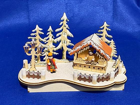 Paesaggio invernale in legno illuminato